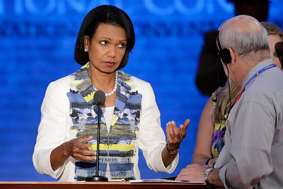 Former Secretary of State Condoleezza Rice looks over the main stage during a sound check at the Republican National Convention in Tampa, Fla., on Wednesday, Aug. 29, 2012. (AP Photo/J. Scott Applewhite)