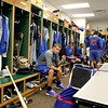Albert Almora, a first-round draft pick for the Chicago Cubs and an outfielder for Cubs Class A affiliate Kane County Cougars, snacks in the clubhouse before a game at Fifth Third Bank Ballpark in Geneva.