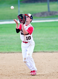 Josh Peckler - For Northwest Herald McHenry County Hurricanes pitcher Tyler Koss picks up a bouncing ball during a semi-final game against Select Baseball Gold for the MCYSA 13U International Championships at Lippold Park in Crystal Lake Sunday, August 4, 2013.