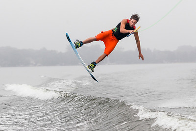 Sarah Nader - snader@shawmedia.com Cullen Rumford, 18, of Crystal Lake trains for the Rockstar WWA World Championships on Crystal Lake Tuesday, August 6, 2013. Rumford's family is hosting professional Australian wakeboarder Dylan Prideaux while they both train for this weekends competition.