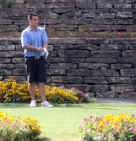 Jeff Krage – For Shaw Media<br /> Matt Daly waits to tee off on the 10th hole during Sunday's championship flight of the St. Charles Men's Golf Tournament at Pottawatomie Golf Course. <br /> St. Charles 8/11/13