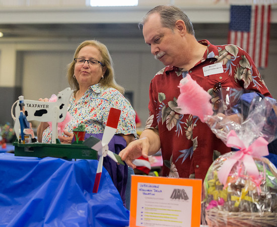 Brian and Marice Gravenhorst of Aurora take a look at the Political Windmill an item for auction during the 19th Annual Porky Picnic at The Vaughan Athletic Center in Aurora, IL on Saturday, August 10, 2013 (Sean King for Shaw Media)
