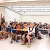 Sixth graders gather in the cafeteria before heading to their first class during the first day of school at Rotolo Middle School in Batavia Tuesday morning.