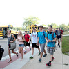 Students arrive for the first day of school at Rotolo Middle School in Batavia Tuesday morning.