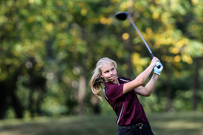 Sarah Nader -  snader@shawmedia.com Prairie Ridge's Erin Wing tees off on the 15th hole while competing against Richmond-Burton at Prairie Isle golf course in Crystal Lake Monday, August 26, 2013.