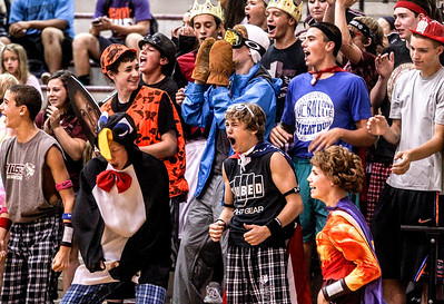 Sarah Nader -  snader@shawmedia.com Prairie Ridge fans cheer on the girls volleyball team during  Tuesday's game against Lake Zurich in Crystal Lake August 27, 2013. Prairie Ridge was defeated  0-2.
