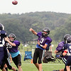 Jeff Krage – For Shaw Media<br /> Tri-City Chargers (Grades 7&8) quarterback Owen Pawelko throws the football Saturday during a Tri-City Chargers' Pigskin Classic game against West Chicago at James O. Breen Park in St. Charles.<br /> St. Charles 8/16/14