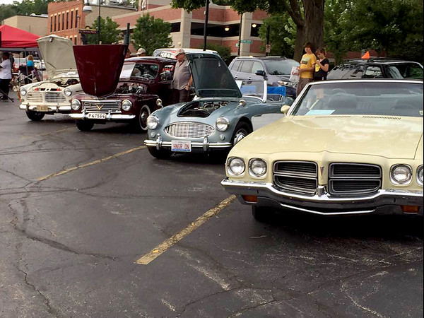 A handful of the classic cars that were shown at Cruise Nites in St. Charles on July 28 are seen.