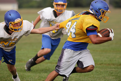 Nico LoDolce runs with the ball after catching a pass during Johnsburg High School football practice on Wednesday August 10, 2016 in Johnsburg.  John Konstantaras photo for the Northwest Herald