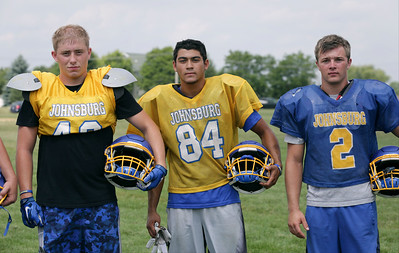 (L-R) Bryce Smith, Nico LoDolce and Blake Lemcke during Johnsburg High School football practice on Wednesday August 10, 2016 in Johnsburg.  John Konstantaras photo for the Northwest Herald