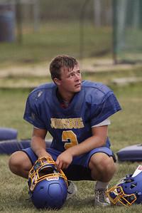Blake Lemcke takes a break between plays during Johnsburg High School football practice on Wednesday August 10, 2016 in Johnsburg.  John Konstantaras photo for the Northwest Herald