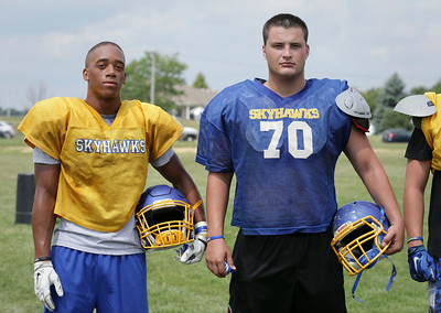 (L-R) Alex Peete and Joe Moore during Johnsburg High School football practice on Wednesday August 10, 2016 in Johnsburg.  John Konstantaras photo for the Northwest Herald