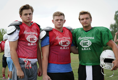 (L-R) Sam Limbaugh, Zach Turner, Gavin Scott during Marian Central football practice on Wednesday August 10, 2016 in Woodstock.  John Konstantaras photo for the Northwest Herald