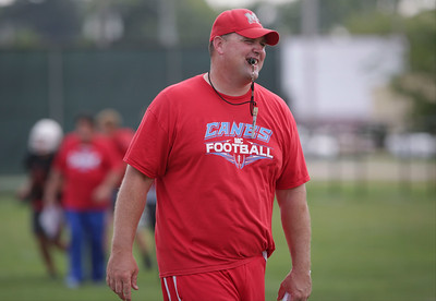 Head coach Mike Maloney during Marian Central football practice on Wednesday August 10, 2016 in Woodstock.  John Konstantaras photo for the Northwest Herald