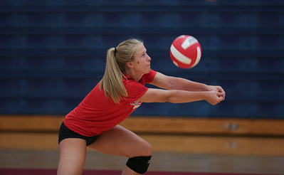 Lauren Hanlon during Marian Central's first volleyball practice of the season on Wednesday, August 10, 2016 in Woodstock.  John Konstantaras photo for the Northwest Herald