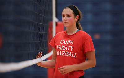 Sydney Nemtuda during Marian Central's first volleyball practice of the season on Wednesday, August 10, 2016 in Woodstock.  John Konstantaras photo for the Northwest Herald