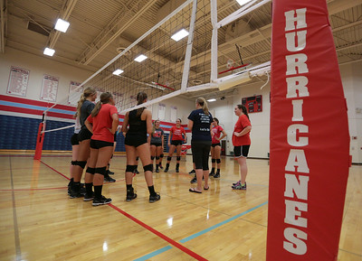 Players during Marian Central's first volleyball practice of the season on Wednesday, August 10, 2016 in Woodstock.  John Konstantaras photo for the Northwest Herald