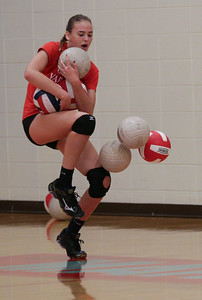 McKayla Wuensch during Marian Central's first volleyball practice of the season on Wednesday, August 10, 2016 in Woodstock.  John Konstantaras photo for the Northwest Herald