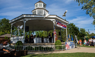 "Mike Greene - For Shaw Media  Doves are released during McHenry's seventh annual event celebrating the end of World War II Sunday, August 14, 2016 at Veterans Memorial Park in McHenry. The annual event included swing music by  Bill's Little Big Band, Military Honor Guard Salute with ""Taps"" played by 18 Buglers as well as a 21 white dove release."