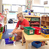 Early Childhood Center teacher Allison Bielski organizes her classroom in preparation for the first day of school.