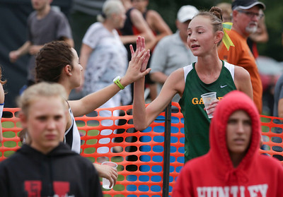 Crystal Lake South's Caitlin Bruzzini high fives runners after they finish the girls varsity race at the McHenry County Cross Country Meet at Emricson Park on Saturday, August 27, 2016 in Woodstock, Ill. Bruzzini won the race.  John Konstantaras photo for the Northwest Herald