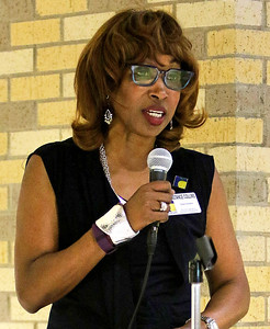 Candace H. Johnson Superintendent Dr. Constance Collins adddresses the crowd during the ribbon cutting ceremony at Round Lake High School.