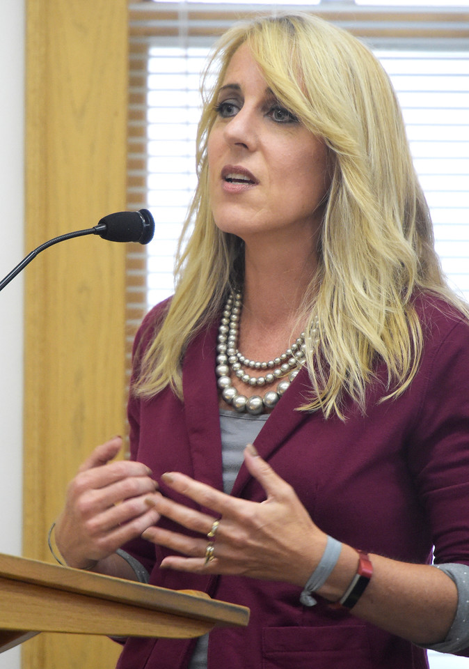 Wendy Piersall co-owner of Lake Marine and RV in Woodstock speaks Tuesday, Aug. 1, 2017, in favor of an increase in sales tax because she knows how important good roads and infrastructure are for customers of her business. The proposed 1 percent increase in sales tax would go towards roads and infrastructure in Woodstock.