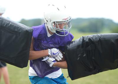 Kayla Wolf - for Shaw Media Hampshire junior Jordan Hagevold runs through a drill Monday, Aug. 7, 2017, at Hampshire High School.