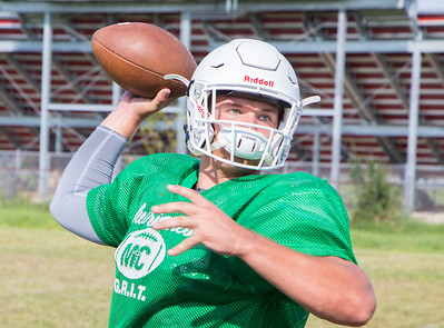 Marion Central Catholic High School's quarterback Gavin Scott during practice Wednesday, August 9, 2017 at Marion Central High School in Woodstock. Ken Koontz – For Shaw Media