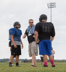 Woodstock North High School head coach Jeff Schroeder during practice Thursday, August 10, 2017 in Woodstock.  Ken Koontz – For Shaw Media