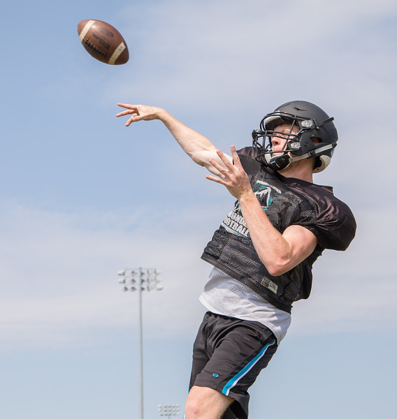 Woodstock North High School quarterback Collin Mergl throws a deep pass during practice Thursday, August 10, 2017 in Woodstock.  Ken Koontz – For Shaw Media