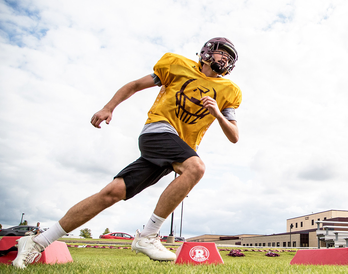 Richmond Burton High School's Jacob Rupnik runs a drill during football practice Friday, August 11, 2017 in Richmond. KKoontz- For Shaw Media