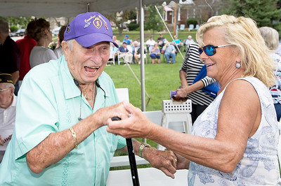 "World War II veteran Chuck Budreck enjoys a dance with Cindy Brumlik during McHenry's annual Spirit of '45 event celebrating the end of World War II and ""The Greatest Generation"" at Veterans Memorial Park in McHenry Sunday, August 13, 2017.  KKoontz- for Shaw Media"