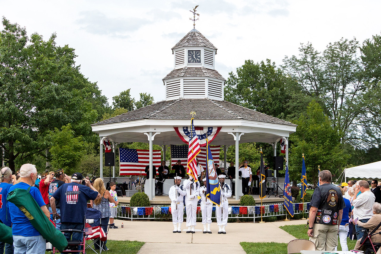 "The Colors are presented during McHenry's annual Spirit of '45 event celebrating the end of World War II and ""The Greatest Generation"" at Veterans Memorial Park in McHenry Sunday, August 13, 2017.  KKoontz- for Shaw Media"