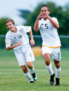 Colin Walsh (5) from Jacobs celebrates his first goal during the first half of their game against Metea Valley at Jacobs High School on Monday, August 21, 2017 in Algonquin, Illinois. The Mustangs defeated the Golden Eagles 3-2. John Konstantaras photo for the Northwest Herald
