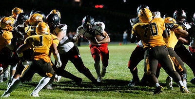 Eric Mooney (5) from Huntley scores the winning touchdown with seconds left in the fourth quarter of their game against Jacobs at Jacobs High School on Friday, August 25, 2017 in Algonquin, Illinois. The Red Raiders defeated the Golden Eagles 30-27. John Konstantaras photo for the Shaw Media