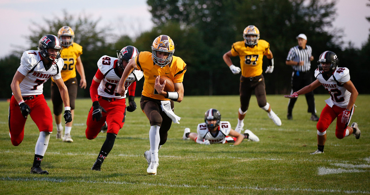 Anthony Wilson (2) from Jacobs runs for a touchdown during the first quarter of their game against Huntley at Jacobs High School on Friday, August 25, 2017 in Algonquin, Illinois. John Konstantaras photo for the Shaw Media
