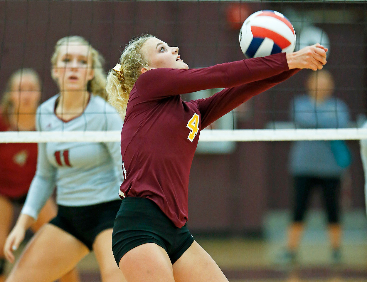 John Konstantaras - for Shaw Media Richmond-Burton's Sammy Duncan (4) bumps a ball during their second game against Antioch on Monday, August 28, 2017 in Richmond. The Sequoits defeated the Rockets in 2 games; 15-25, 23-25.