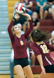 John Konstantaras - for Shaw Media Richmond-Burton's Bailey Dean (6) from Richmond-Burton sets the ball during their second game against Antioch on Monday, August 28, 2017 in Richmond. The Sequoits defeated the Rockets in 2 games; 15-25, 23-25.