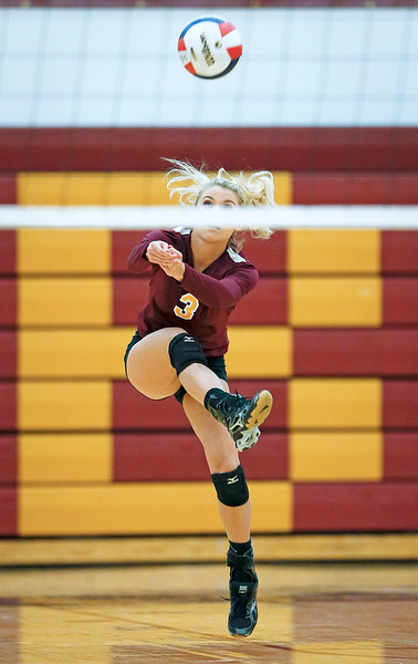 John Konstantaras - for Shaw Media Richmond-Burton's Cameron Bayer (3) bumps the ball during their first game against Antioch on Monday, August 28, 2017 in Richmond. The Sequoits defeated the Rockets in 2 games; 15-25, 23-25.