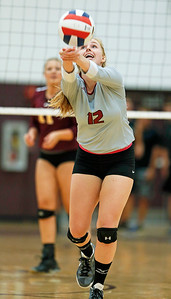 John Konstantaras - for Shaw Media Antioch's Kennedy Moll saves a ball during their first game against Richmond-Burton on Monday, August 28, 2017 in Richmond. The Sequoits defeated the Rockets in 2 games; 15-25, 23-25.