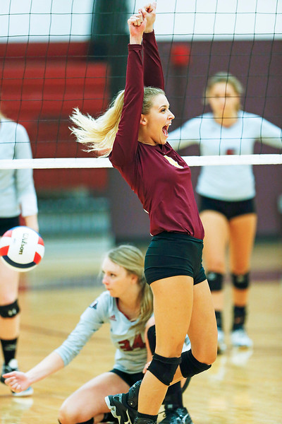 John Konstantaras - for Shaw Media Richmond-Burton's Cameron Bayer (3) celebrates a point during their second game against Antioch on Monday, August 28, 2017 in Richmond. The Sequoits defeated the Rockets in 2 games; 15-25, 23-25.