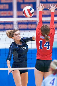 Jenna Splitt (15) from Cary-Grove spikes a ball past Tarrah Kamp (14) from Dundee-Crown during the first game of their match at Dundee-Crown High School on Thursday, August 31, 2017 in Carpentersville, Illinois. The Trojans defeated the Chargers in 3 games; 25-20, 14-25, 16-25.  John Konstantaras photo for the Shaw Media
