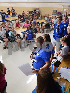 Julie Quinlan, eighth-grade school counselor, makes some final comments to incoming students Aug. 14 during a sneak preview day for incoming seventh-graders at Herrick Middle School in Downers Grove. Mark Busch - mbusch@shawmedia.com