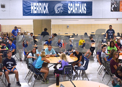 New incoming students listen to instructions Aug. 14 during a sneak preview day for seventh-graders at Herrick Middle School in Downers Grove. Mark Busch - mbusch@shawmedia.com