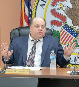 Algonquin Township Supervisor Charles Lutzow speaks at the Algonquin Township board meeting Wednesday, August 8, 2018 in Crystal Lake. KKoontz – For Shaw Media