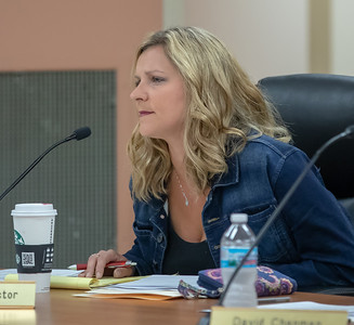 Algonquin Township Trustee Melissa Victor discusses issues during the Algonquin Township board meeting Wednesday, August 8, 2018 in Crystal Lake. KKoontz – For Shaw Media