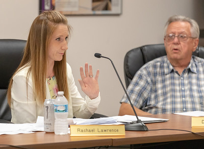 Algonquin Township Trustee Rachael Lawrence discusses billing issues during the Algonquin Township board meeting Wednesday, August 8, 2018 in Crystal Lake. KKoontz – For Shaw Media