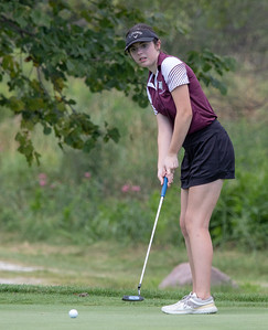 Prairie Ridge High School's Sophia Pacente finishes tied for fifth with an 85 at the Marian Central Girls Golf Invitational Thursday, August 9, 2018 held at the Boone Creek Golf Club in Bull Valley. KKoontz – For Shaw Media
