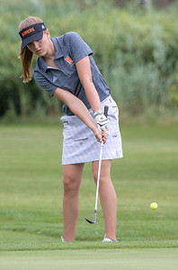 McHenry High School's Carly Wolf chips onto the green at the Marian Central Girls Golf Invitational Thursday, August 9, 2018 held at the Boone Creek Golf Club in Bull Valley. KKoontz – For Shaw Media